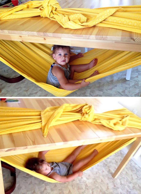 under the table bed hammock parenting hacks tricks tips