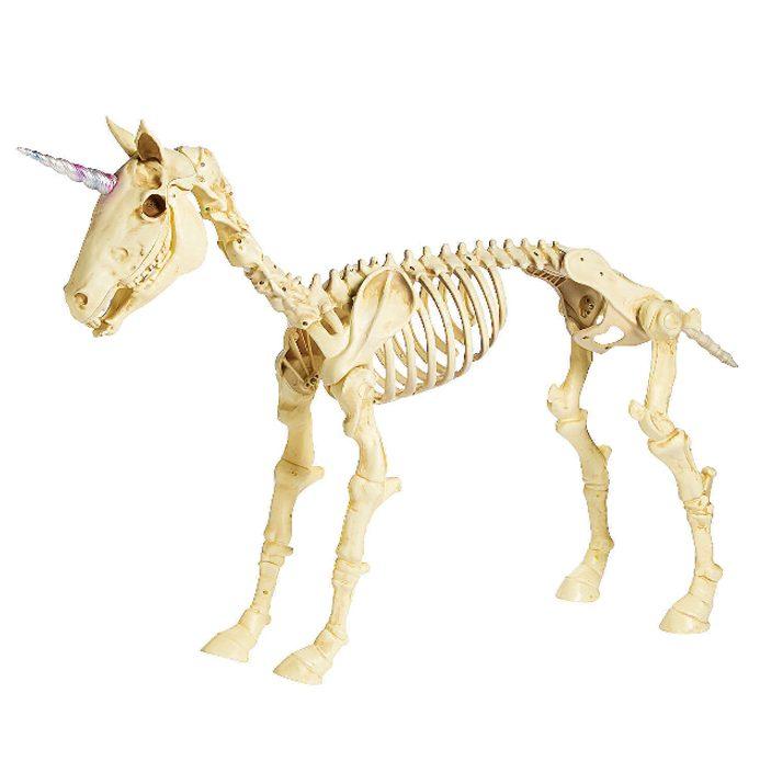 unicorn skeleton plastic halloween decor