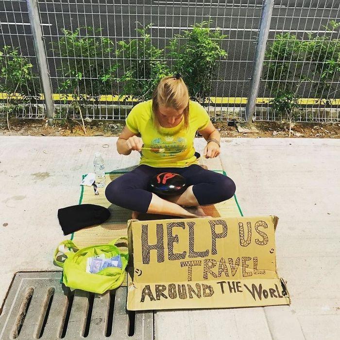 western begpackers white girl begging for money