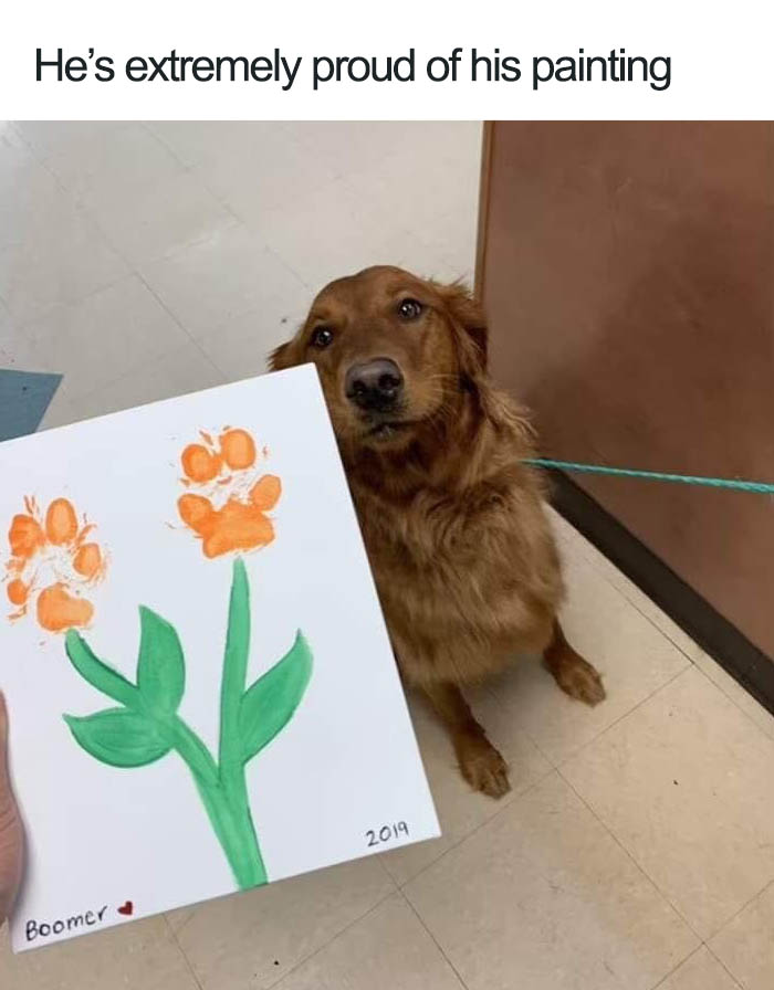 wholesome dog posts paw painting