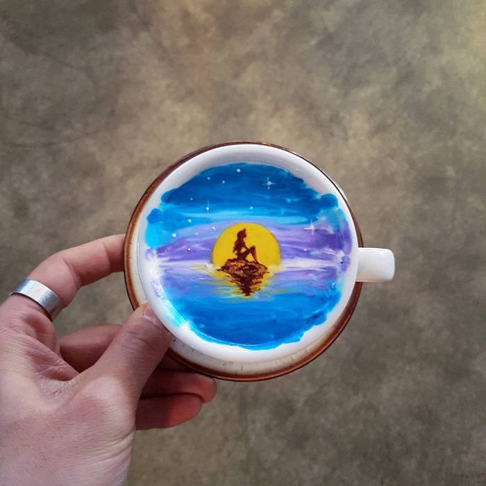 woman moon colored latte art kangbin lee