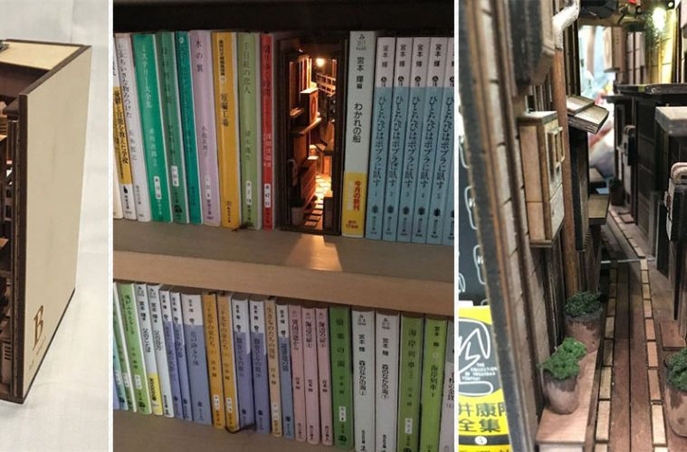 wooden dioramas bookends