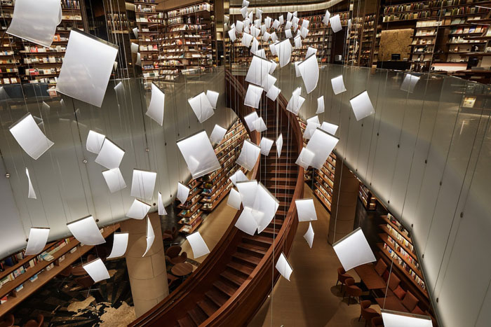 yjy maike centre flagship bookstore chandelier floating papers