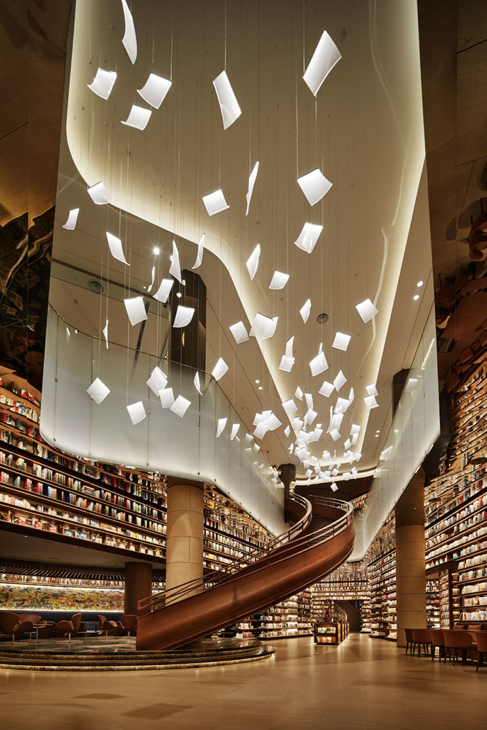 yjy maike centre flagship bookstore spiral staircase chandelier