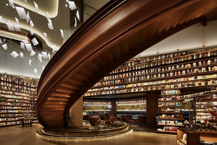yjy maike centre flagship bookstore spiral staircase