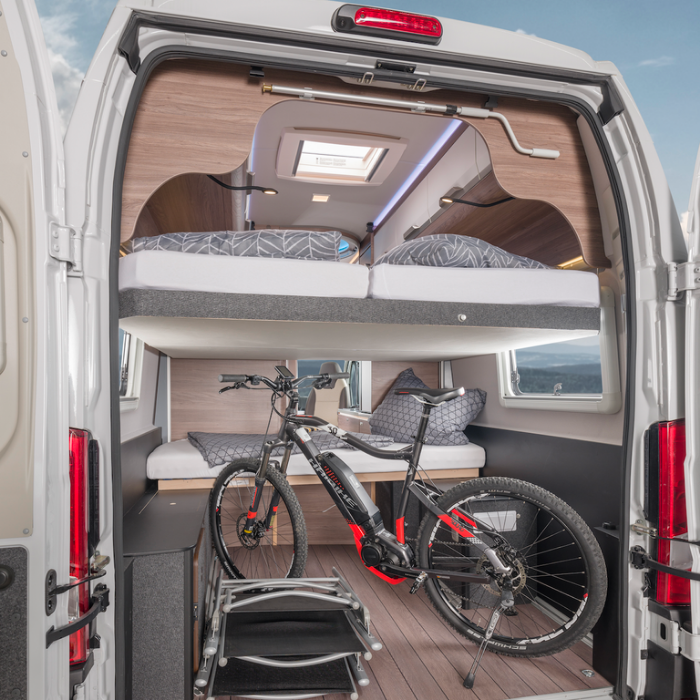 accommodating a bike camper van knaus boxlife 630 me