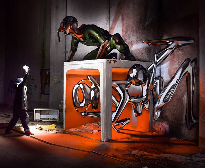 ant man sort graffiti object transformations bus artist odeith