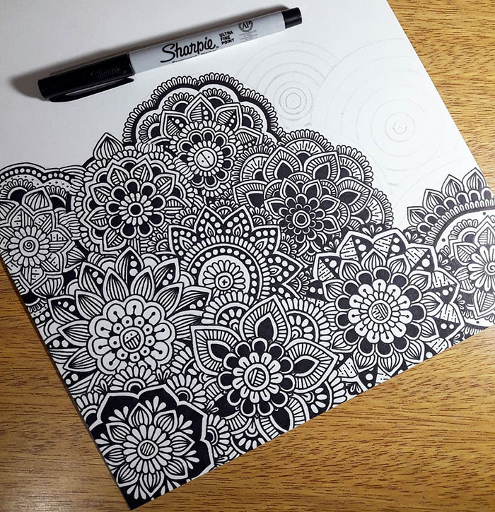 beautiful doodle flower patterns self harm zentangle therapy tutorial