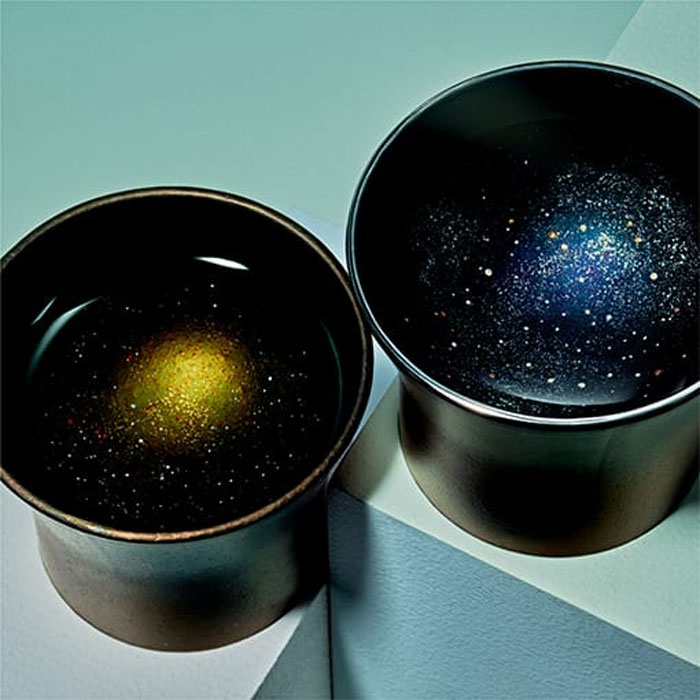 black and blue galaxy sake cups design