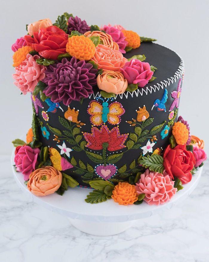 black cake embroidered patterns in cakes leslie vigil