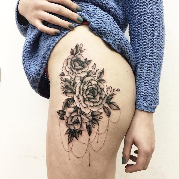 black flower sketches with shades upper thigh side best floral tattoo artists