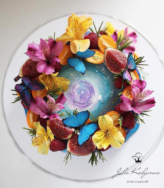 butterflies and flowers cake art yulia kedyarova