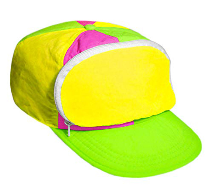 cap-sac fanny pack hat pink green yellow
