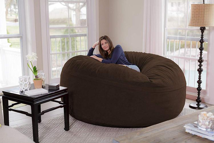 chill sack giant 8 foot bean bag chair brown