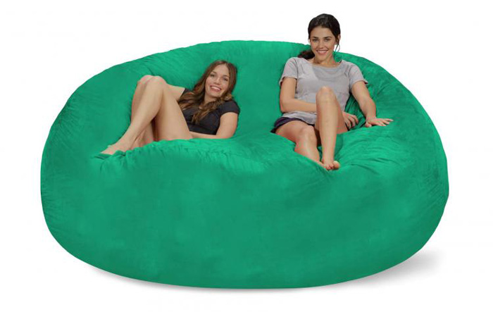 chill sack giant 8 foot bean bag chair fits up to 3 persons