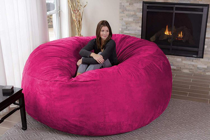 chill sack giant 8 foot bean bag chair pink