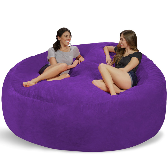 chill sack giant 8 foot bean bag chair purple multi-person