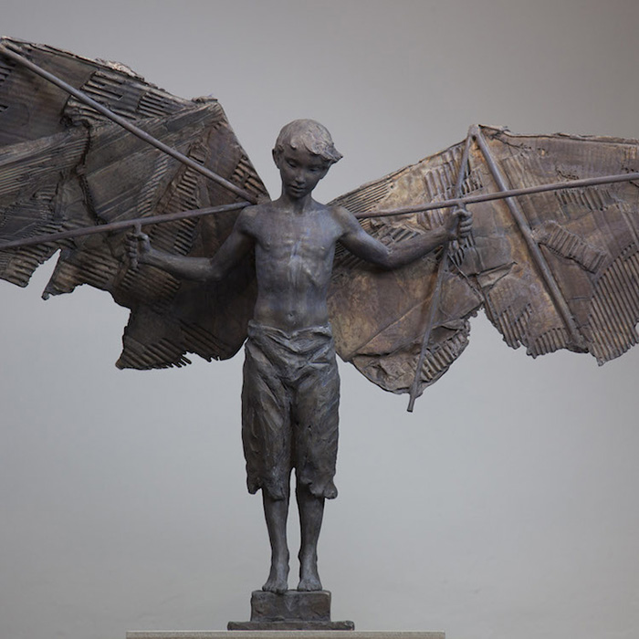 coderch malavia lifelike human sculptures learning to fly