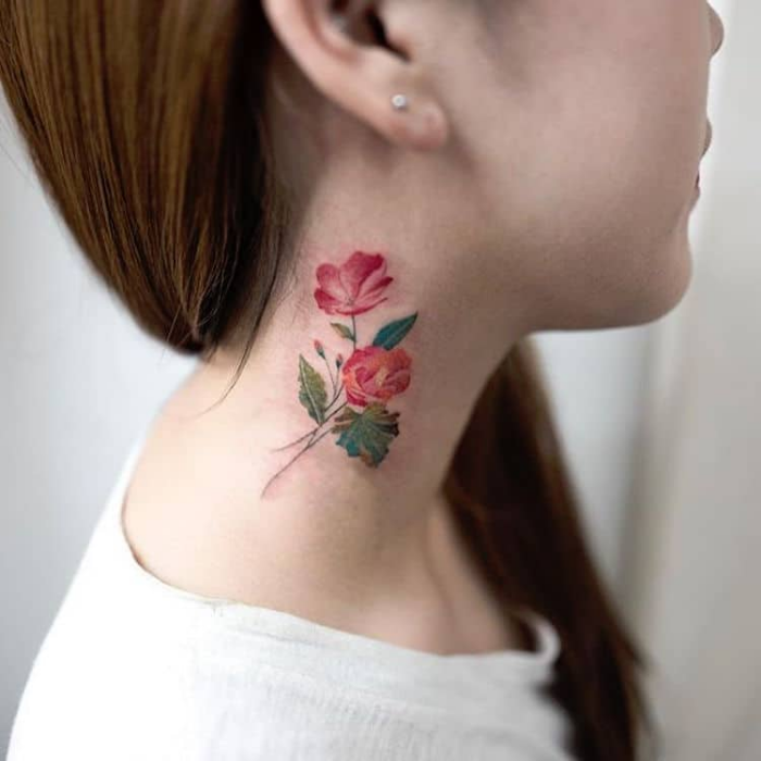 colorful on neck best floral tattoo artists