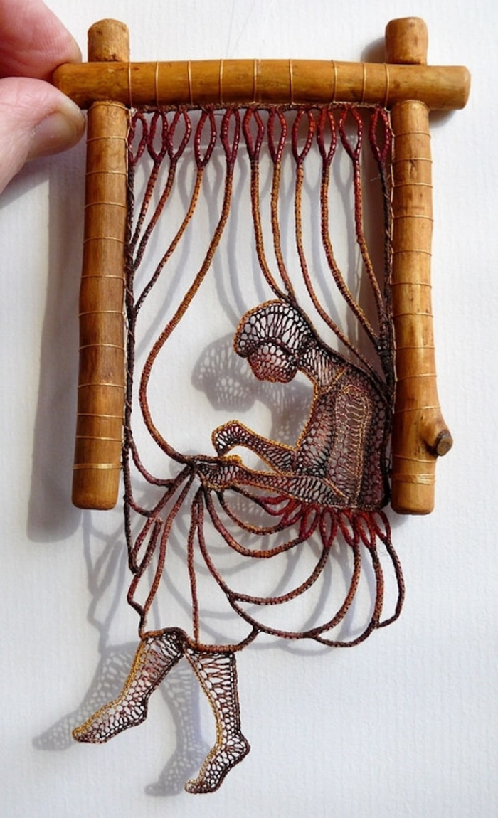 concentrating on a task lace art agnes herczeg