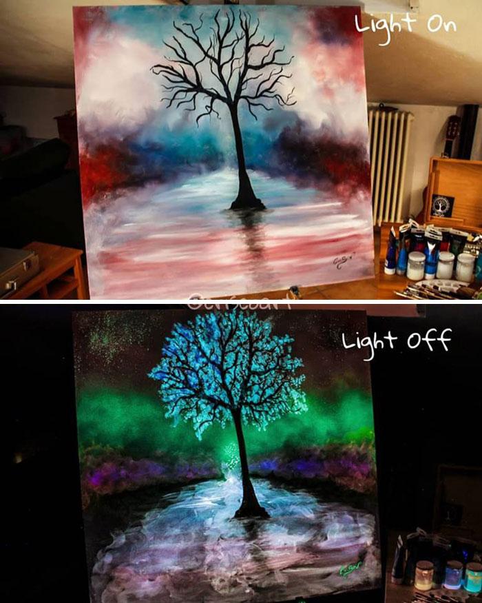cristoforo scorpiniti glow-in-the-dark paintings blooming tree