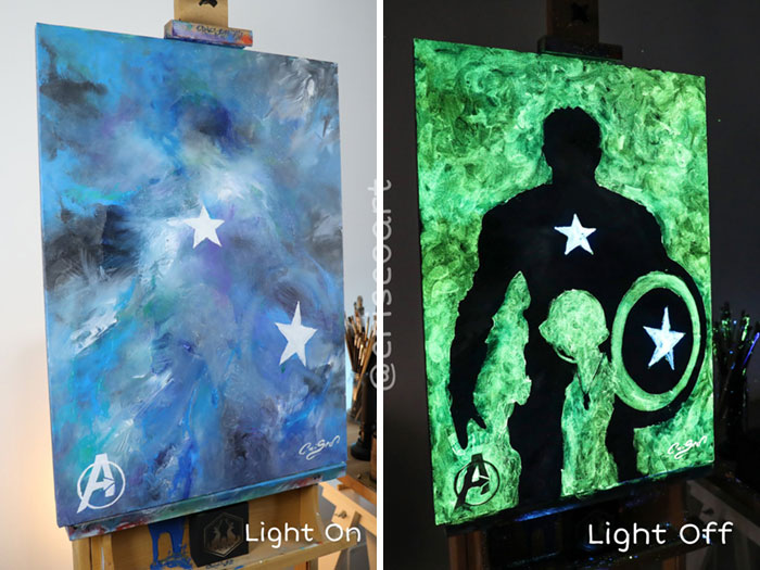 cristoforo scorpiniti glow-in-the-dark paintings captain america