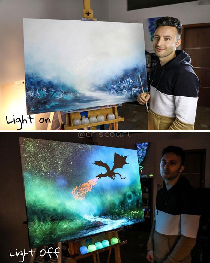 cristoforo scorpiniti glow-in-the-dark paintings dragon