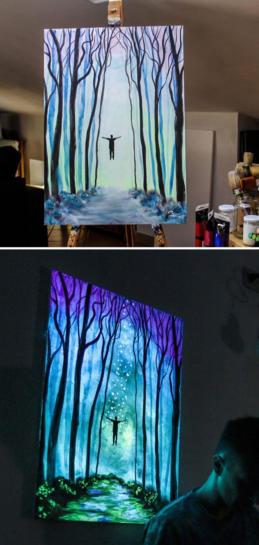 cristoforo scorpiniti glow-in-the-dark paintings floating man