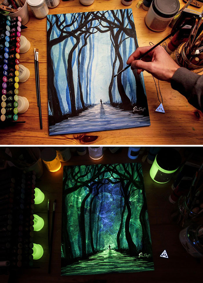 cristoforo scorpiniti glow-in-the-dark paintings forest