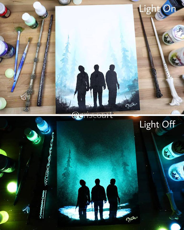 cristoforo scorpiniti glow-in-the-dark paintings harry potter characters