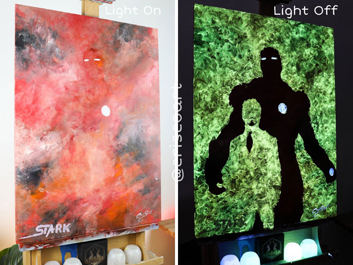 cristoforo scorpiniti glow-in-the-dark paintings iron man