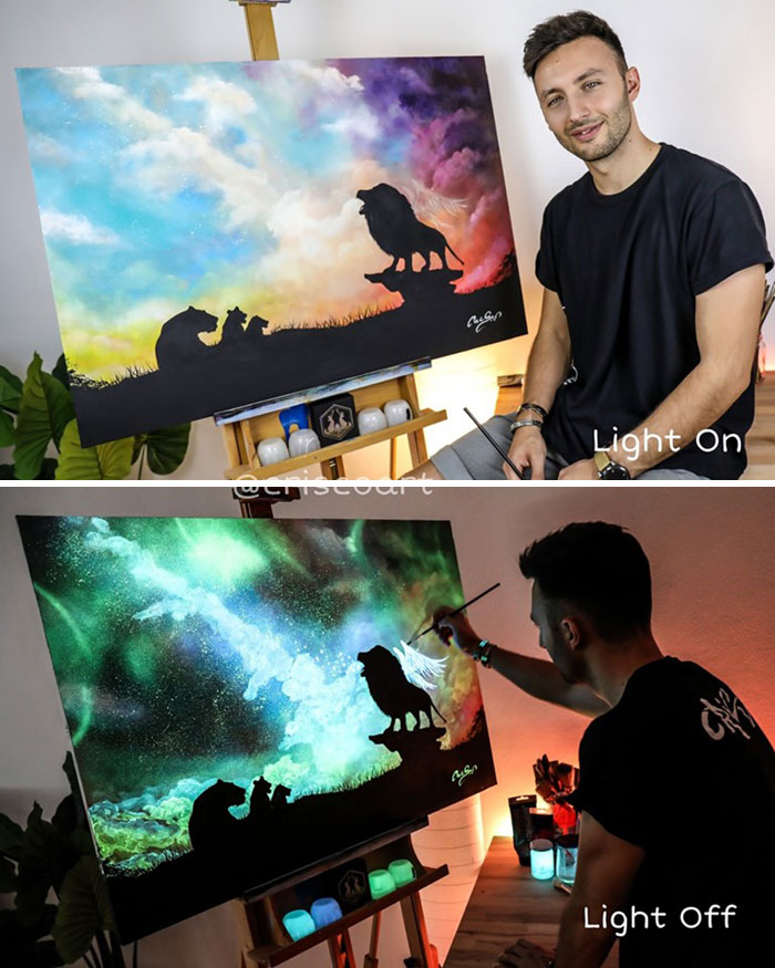 cristoforo scorpiniti glow-in-the-dark paintings lion king