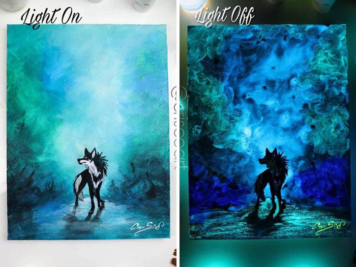 cristoforo scorpiniti glow-in-the-dark paintings lone wolf
