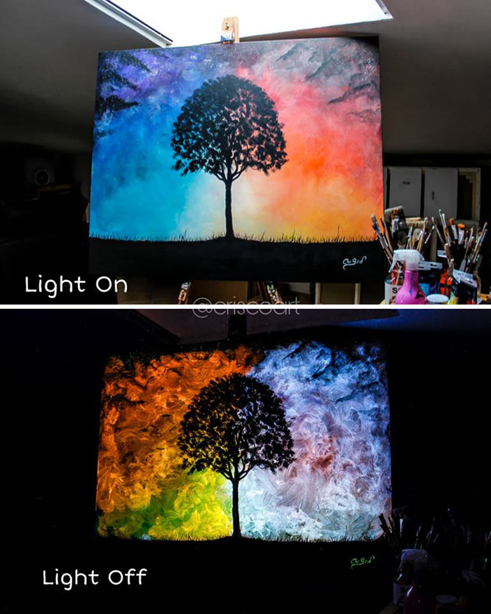 cristoforo scorpiniti glow-in-the-dark paintings lonely tree