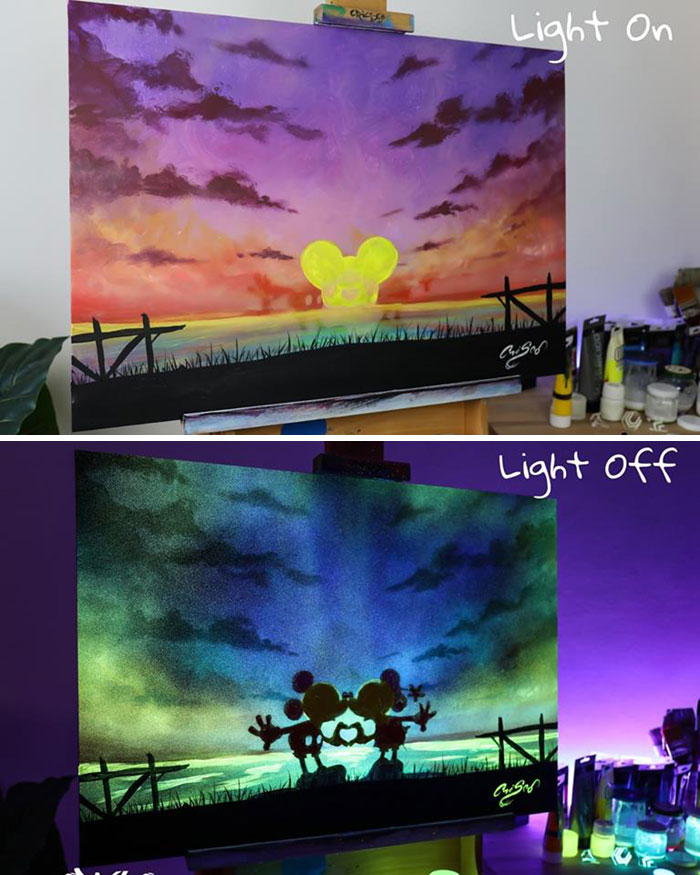 cristoforo scorpiniti glow-in-the-dark paintings mickey mouse