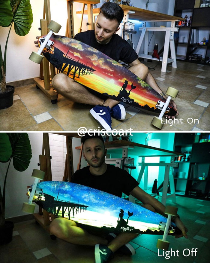 cristoforo scorpiniti glow-in-the-dark paintings skateboard