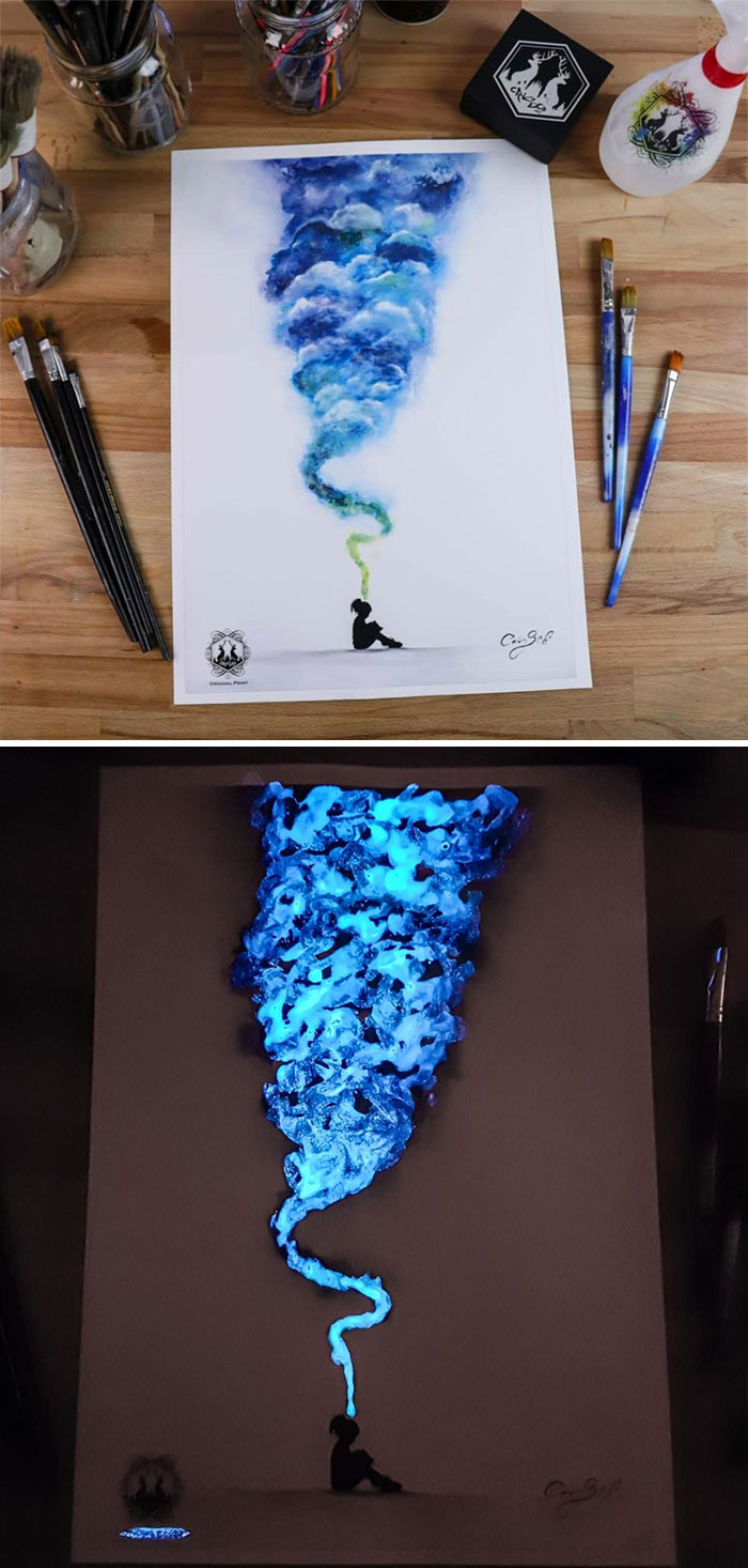 cristoforo scorpiniti glow-in-the-dark paintings thougts