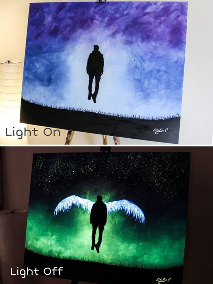 cristoforo scorpiniti glow-in-the-dark paintings winged man