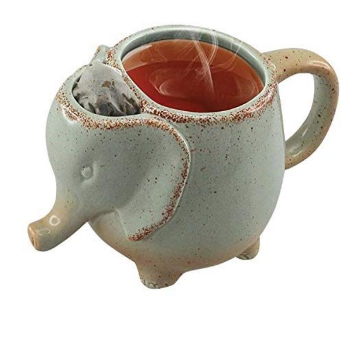 elephant mug with tea bag compartment