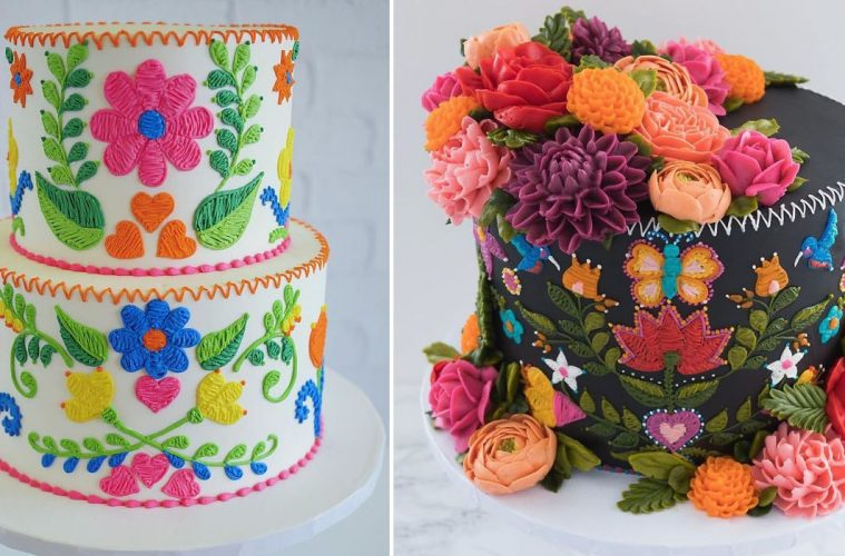 embroidery pattern cakes