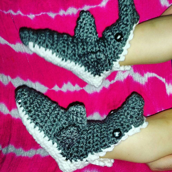 etsy shark socks crochet pattern