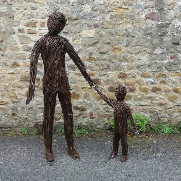 father and son outdoor sculptures anna and the willow