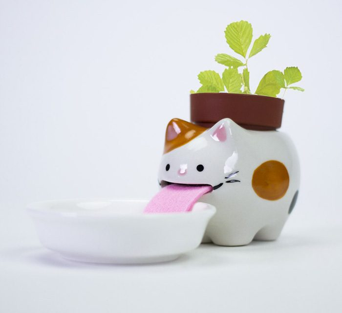 firebox drinking animal planters cat