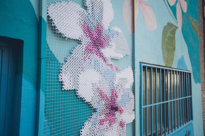 floral cross-stitch art installations valencia spain