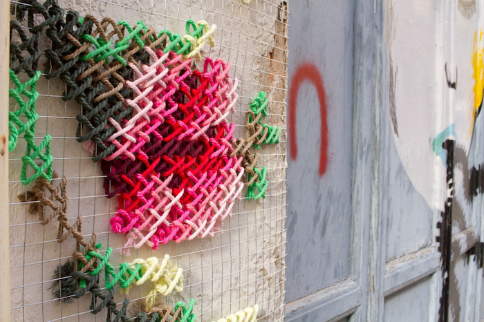 floral cross-stitch art installations wire mesh