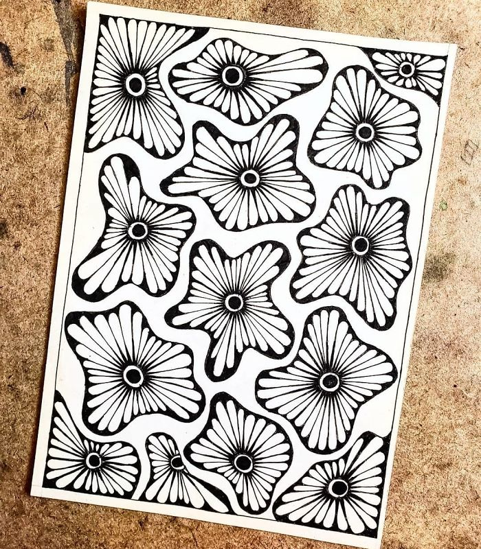 flower petals extending patterns self harm zentangle therapy tutorial