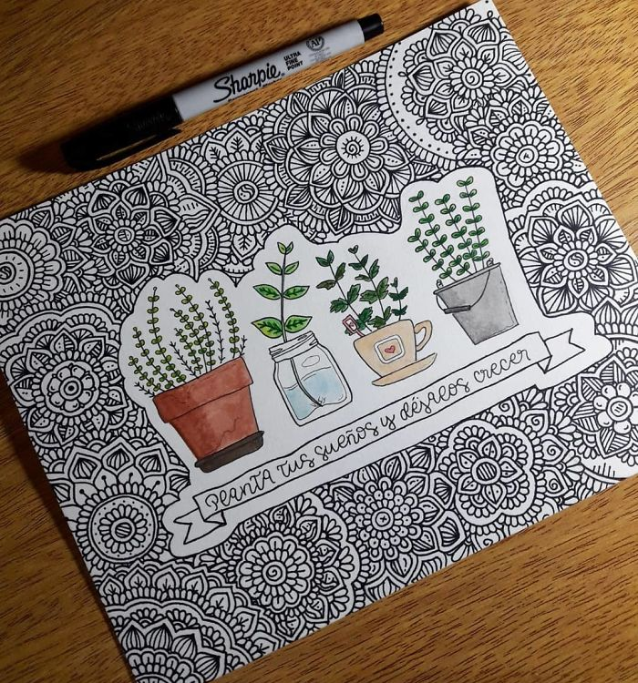 flower plants doodle self harm zentangle therapy tutorial