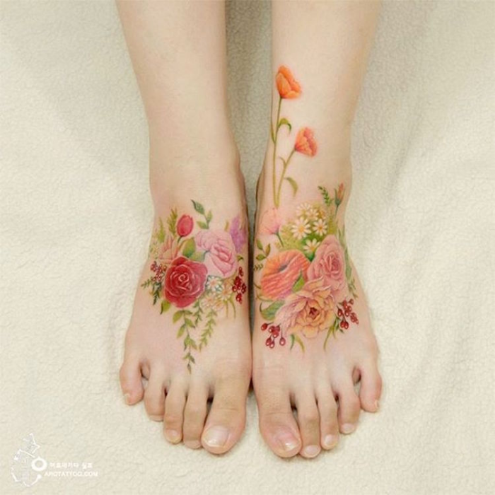 fresh colors feet best floral tattoo artists