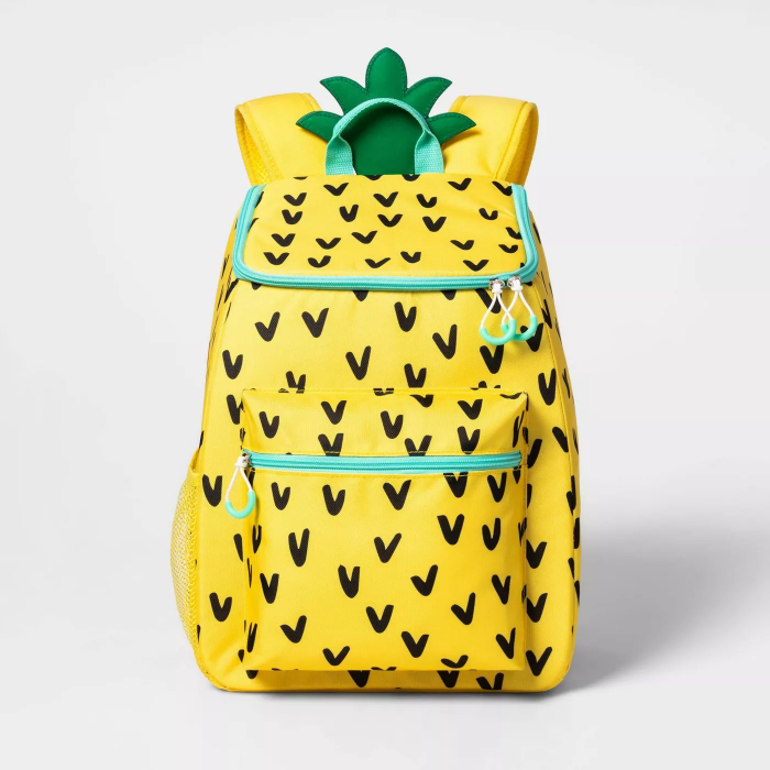 front view target sun squad pineapple backpack cooler