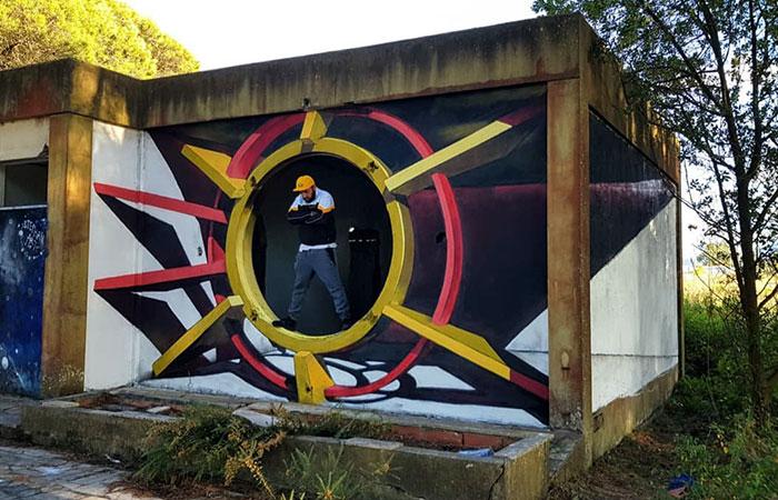 futuristic graffiti object transformations bus artist odeith